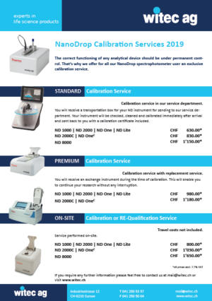 Nanodrop Calibration Services 2019